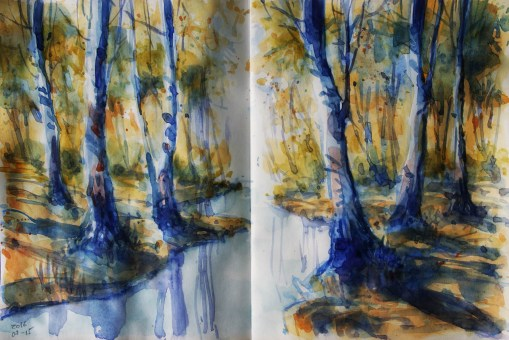 My 15-3/31 #worldwatercolormonth // 173_2016 Watercolor-Sketches /Daler-Rowney Graduate Sketchbook, 2 x 21,0 x 14,9 cm / 2x 8.3 x 5.8 in - A quick plein-air sketch before work.