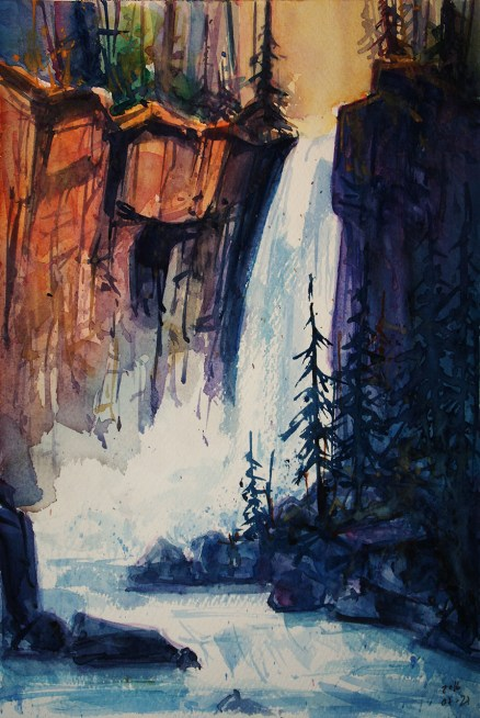 My 28-1/31 #worldwatercolormonth //215_2016 Watercolor / Hahnemühle Mould-made rough - ca. 24 x 32 cm / 9.4 x 12.6 in `Yosemite Falls´