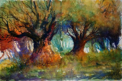 237_2016 Watercolor-Sketches /Daler-Rowney Graduate Sketchbook, 2x 21,0 x 29,7 cm / 8.3 x 11.7 in / Lukas Aquarell 1862 / ´In the cooling shades of old trees´ - Today´s plein-air sketch.