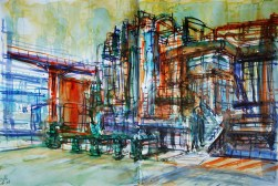 CW2016_abstract_watercolor014 / Daler-Rowney Graduate Sketchbook, 2x 21,0 x 21,0 cm / 8.3 x 8.3 in / Lukas Aquarell 1862 / ´Chemical plant´