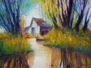 "175_2017 Watercolor revisited / Fabriano Artistico rough 61 x 45,5 cm / 24´ x 17.9´ / Lukas Aquarell 1862 "" Summer breeze II"""