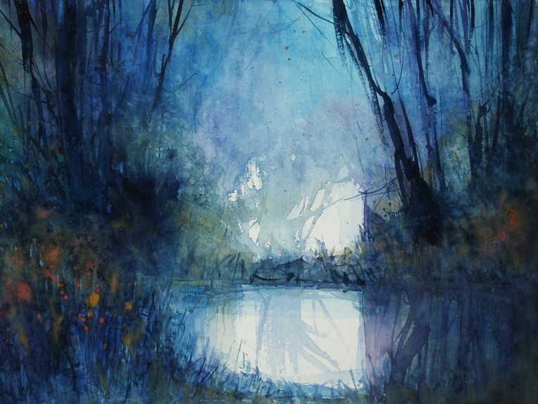 """180_2017 Watercolor / Hahnemühle Anniversary Edition ca.48 x 36 cm / 18.9 x 14.2 in / Lukas Aquarell 1862 """"The Blue Hour II"""""""