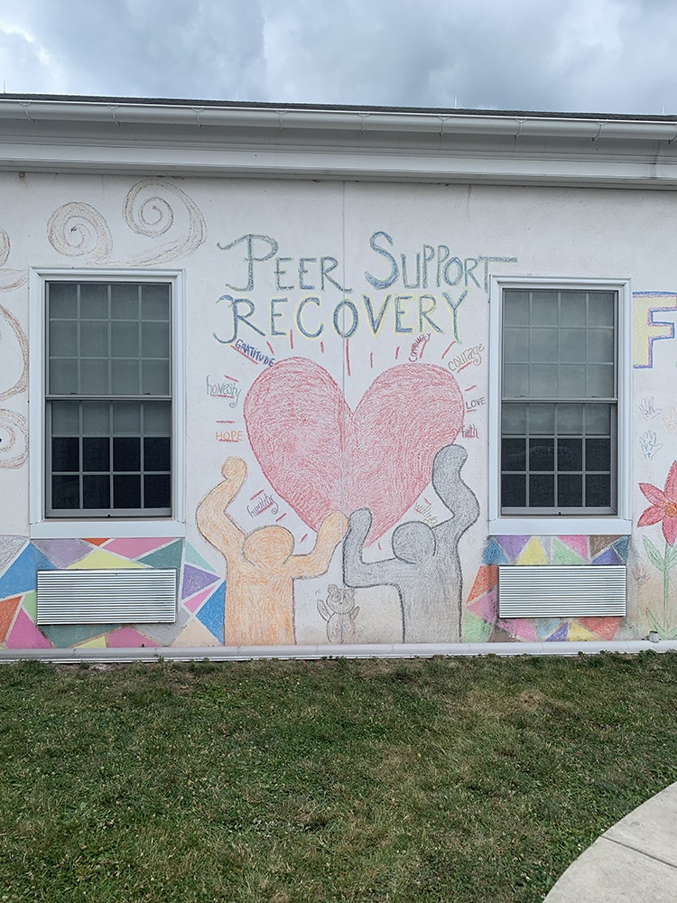 Peer Support Recovery mural at New Hanover Evangelical Lutheran church done in chalk