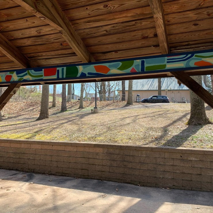 Painted wood beams at victory park in royersford, pa