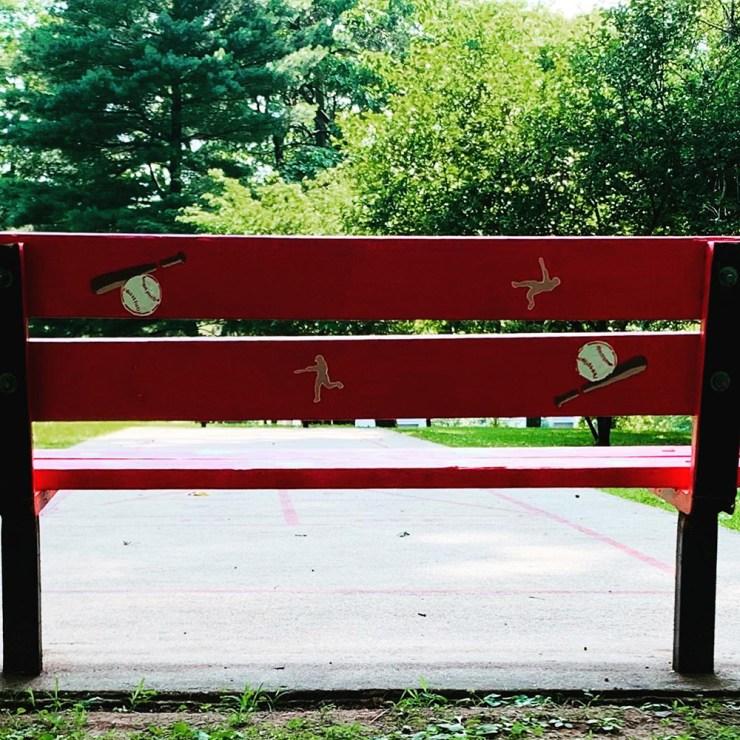 Rear view of softball or baseball bench