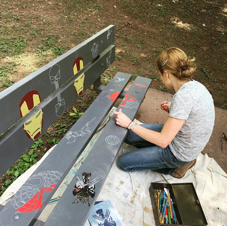 Super hero bench being painted