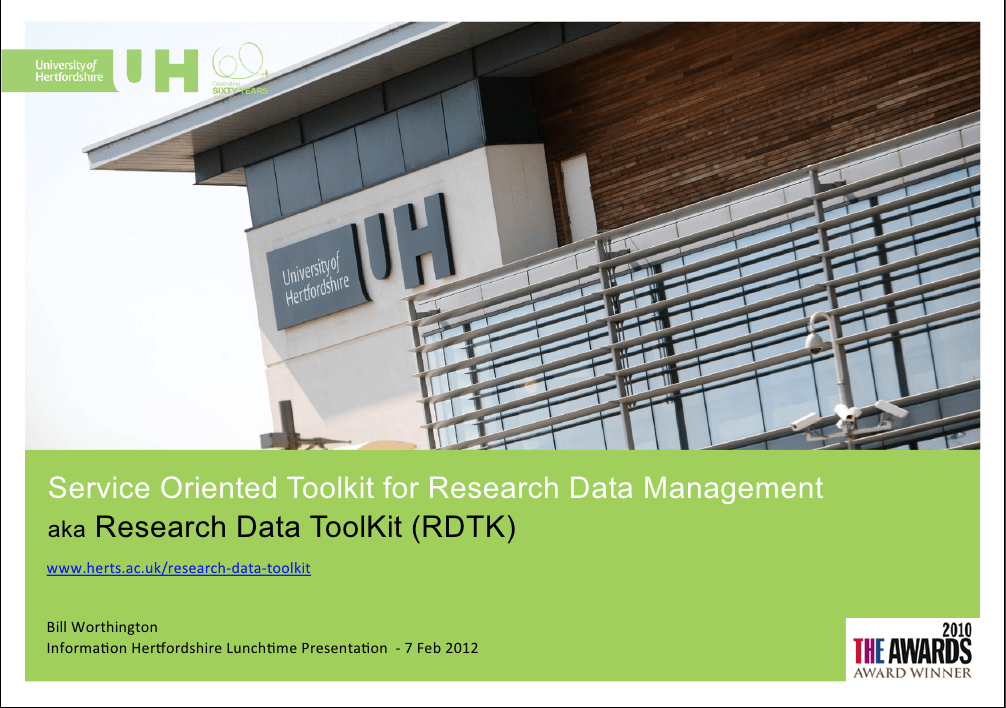 The presentation on the Service Oriented Toolkit for Research Data Management