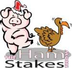 Theatresports® Blue Mountains piggy mascot, Hamlette, with a very worried Turkey!