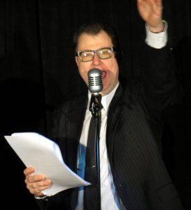 John Stretton is Peter Sellers (a.k.a. Bluebottle) in The Goon Show LIVE!