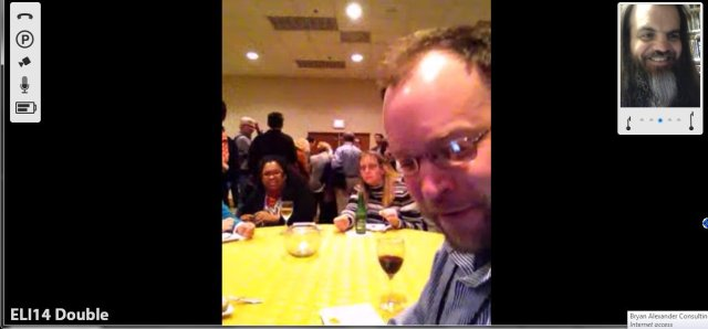 """""""Seated"""" at a table with Ben Harwood and friends."""