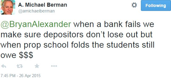 Michael Berman tweet on Corinthian end