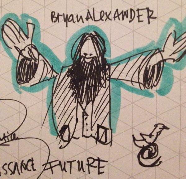 Cartoon of Bryan gesticulating at BETT 2015, by Reitse Sybesma
