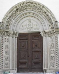 Massive library door