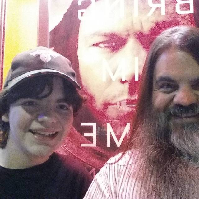Owain and I posing before The Martian poster