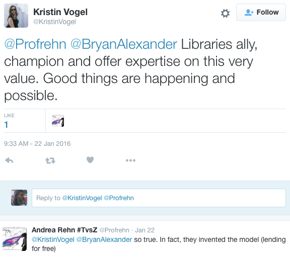 tweets praising librarians for collaboration