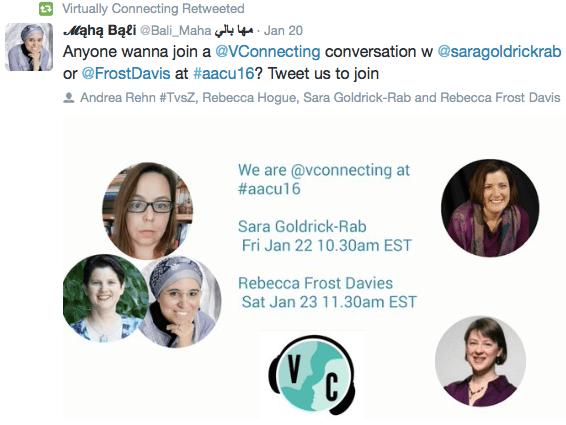 Virtually Connected tweet