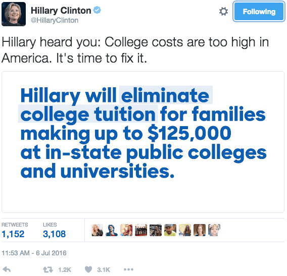 """Hillary heard you: College costs are too high in America. It's time to fix it."""