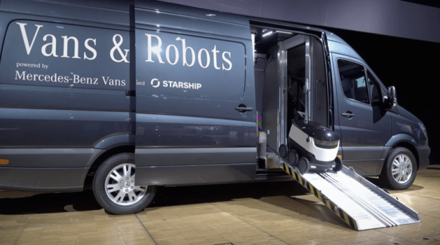 Robot delivery with van