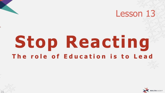 Stop reacting! slide by Anthony Fisher Camilleri