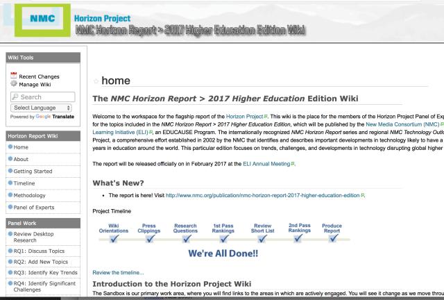 NMC Horizon wiki screenshot for 2017