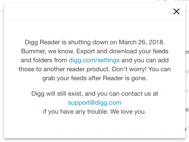 Digg Reader shut down notice