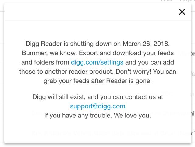 Digg Reader shut down notice