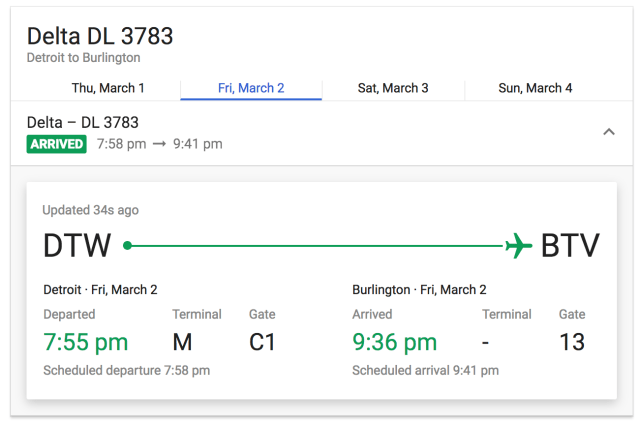 The flight looks like it landed as I wrote this post.