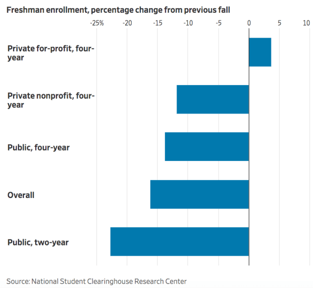 enrollment by institutional type fall 2020_WSJ