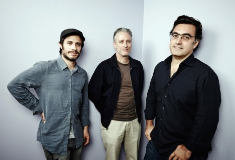 Right to left: Gael Garcia, Jon Stewart and Maziar Bahari.