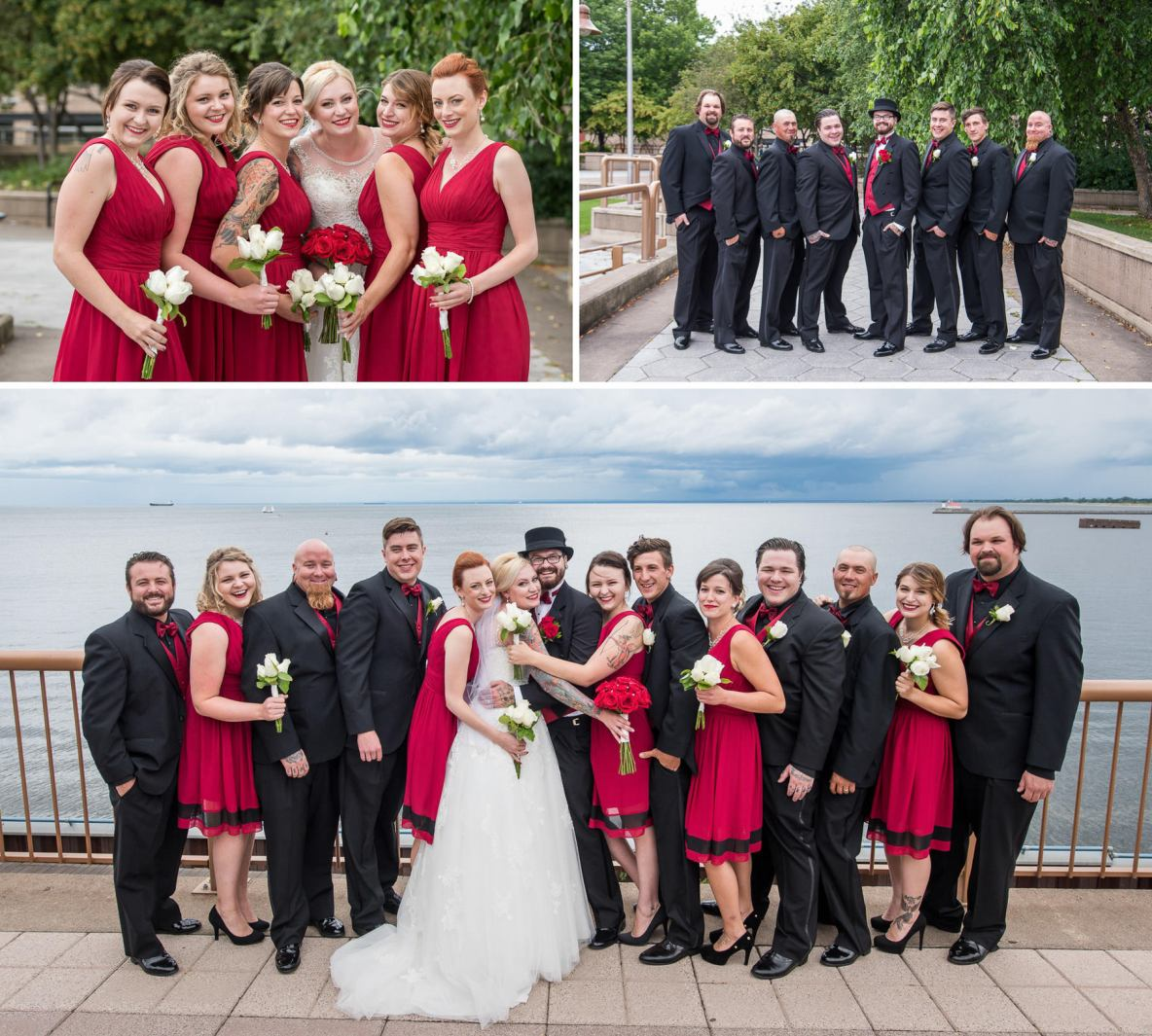 The wedding party wore black and red.