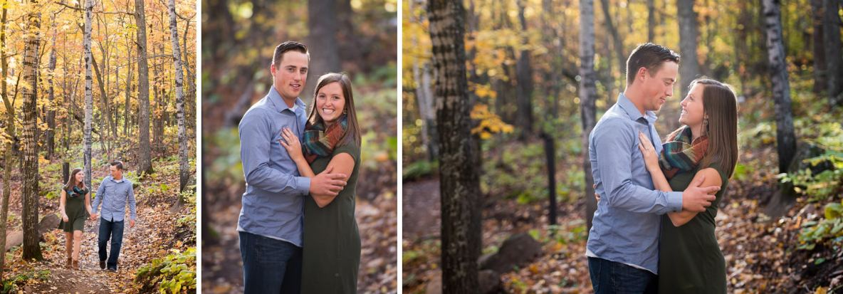 Engagement couple photos surrounded by nature in the fall.
