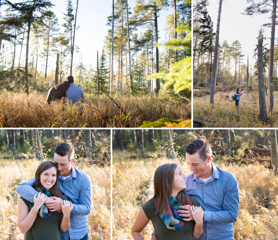 Engagement couple photos in long grass and fall weather.