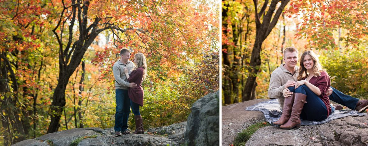 Engagement couple photo in fall colors; autumn leaves in the background.