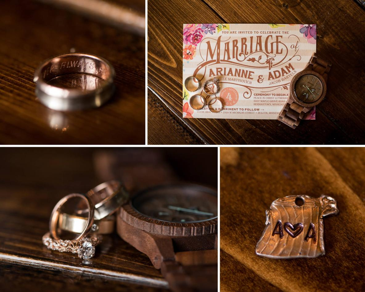 Collage of a watch as a wedding gift and various engagement and wedding rings.