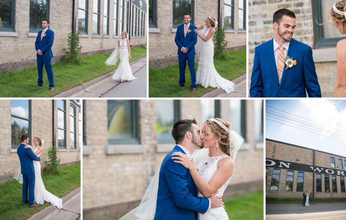 Bride and groom first look photos outside with grass and brick in the background.