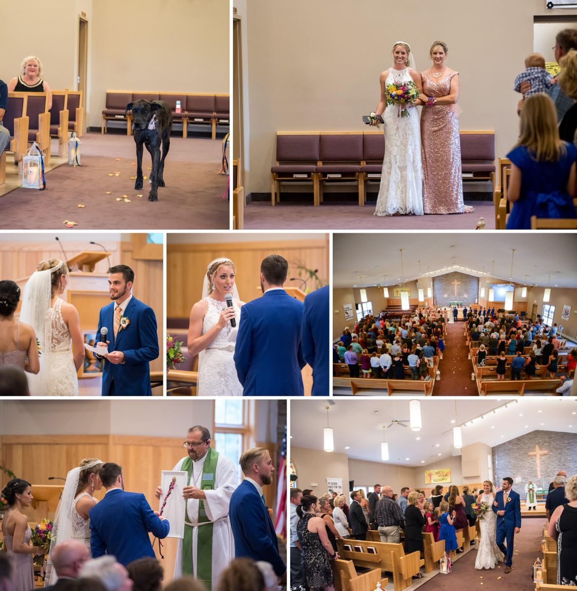Photo collage of indoor wedding ceremony held in beautiful church.