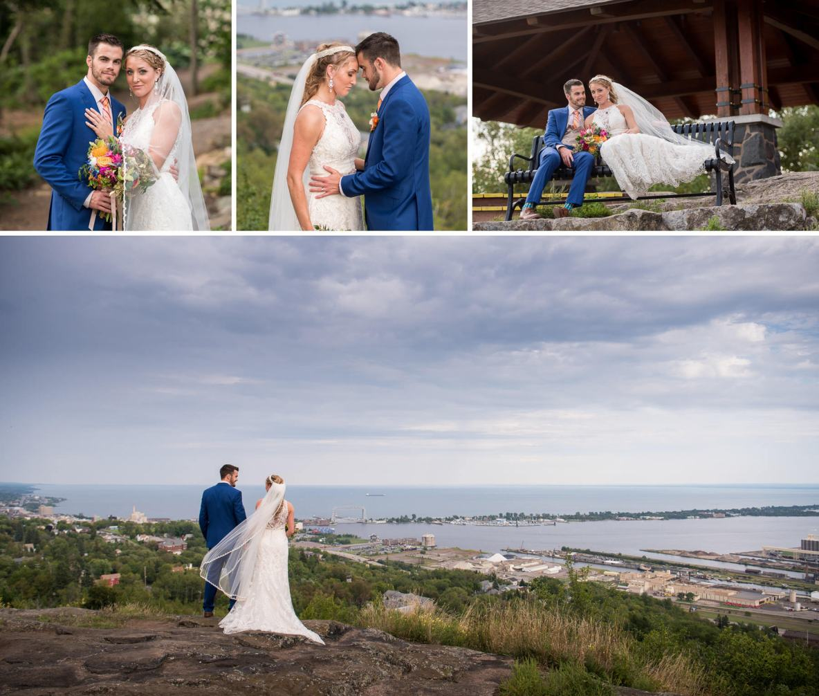 Bride and groom portraits overlooking the city of Duluth.