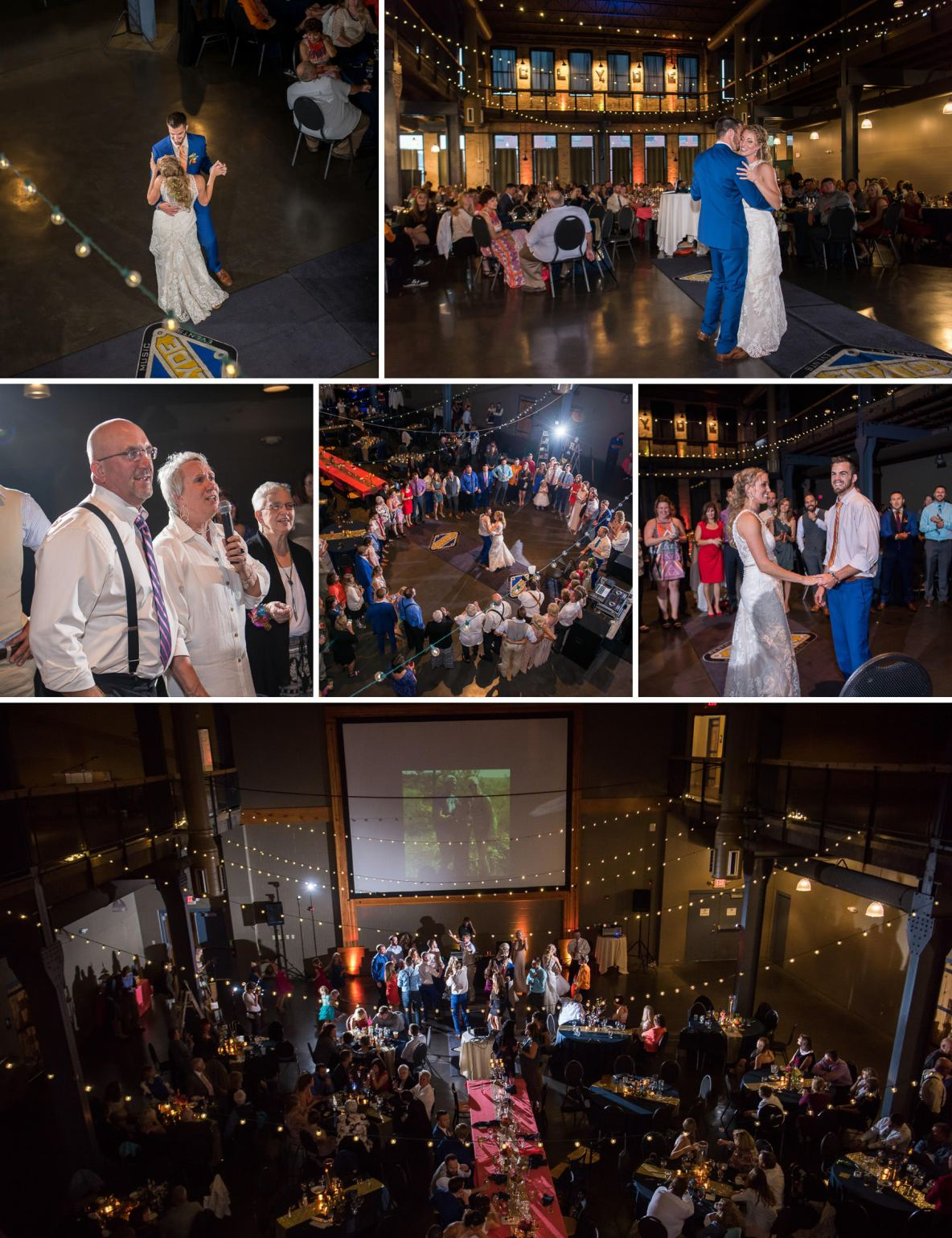 Collage of wedding reception including first dance photos and speeches.