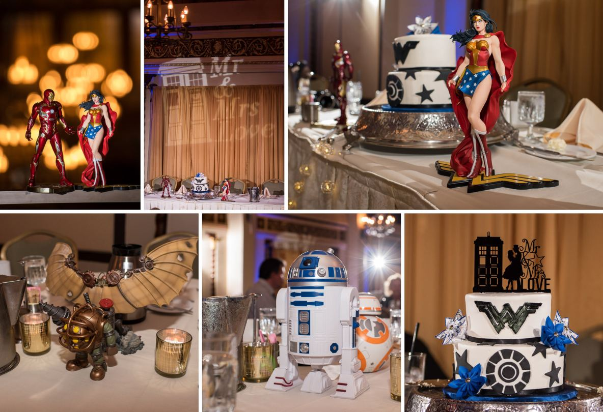 Geeky wedding reception, fandom themed decorations and cake.