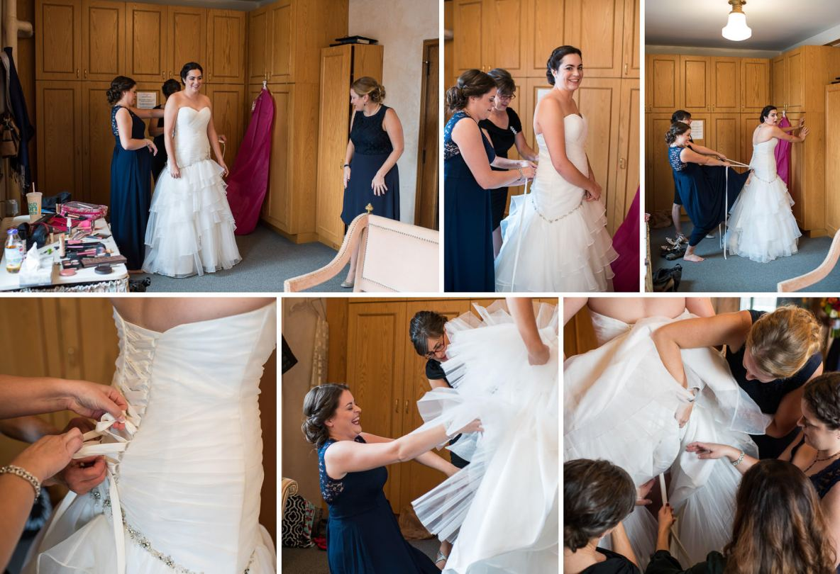 Bride getting ready photos, dress gets tied and pinned.