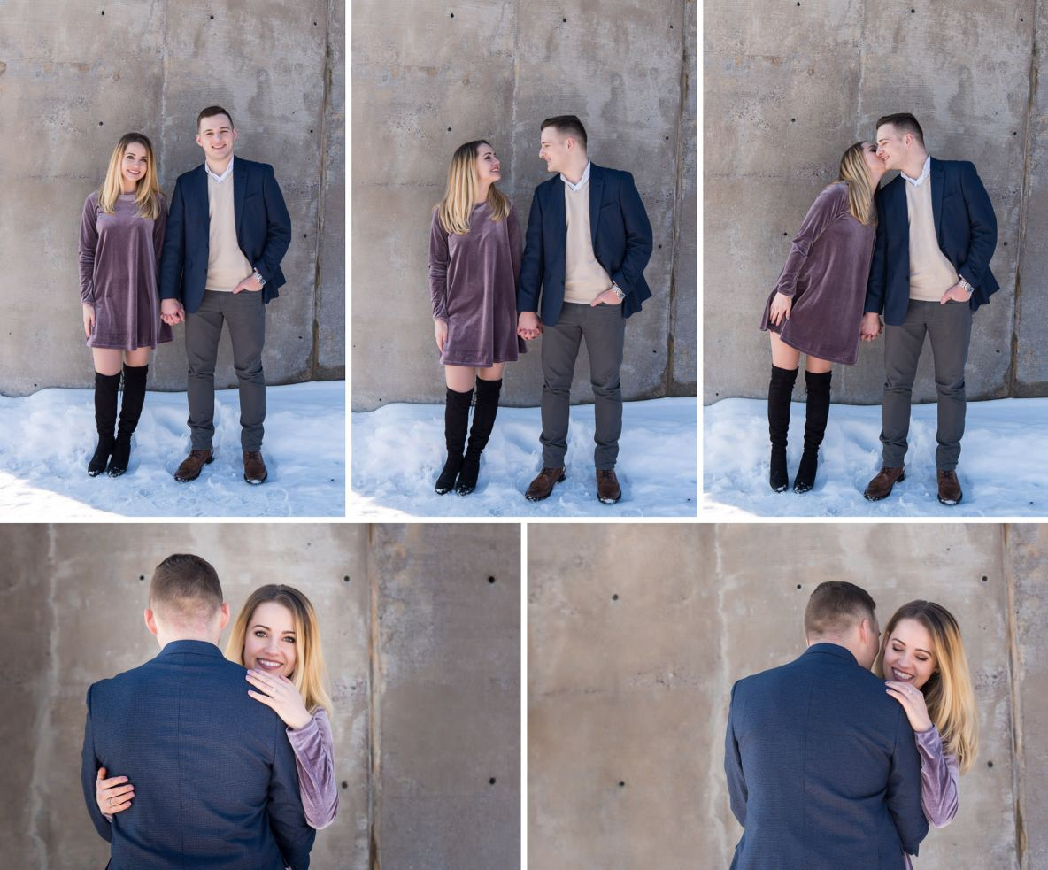 Engaged couple photos with snow and plain background.
