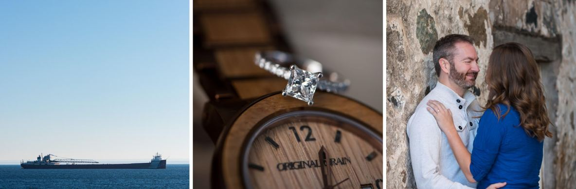 Engagement details and a ship on Lake Superior.