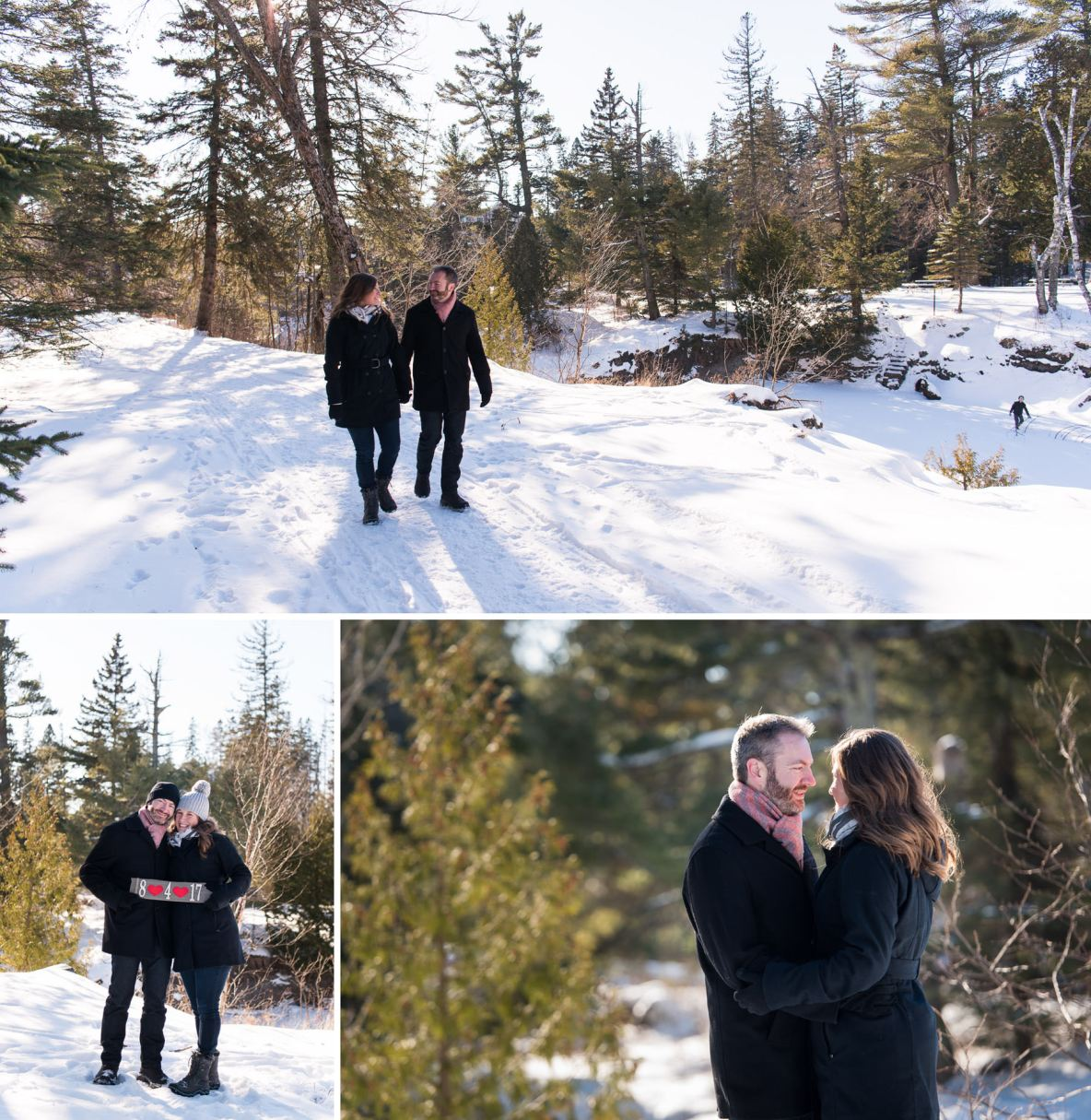 Engaged couple outside in snowy landscape.