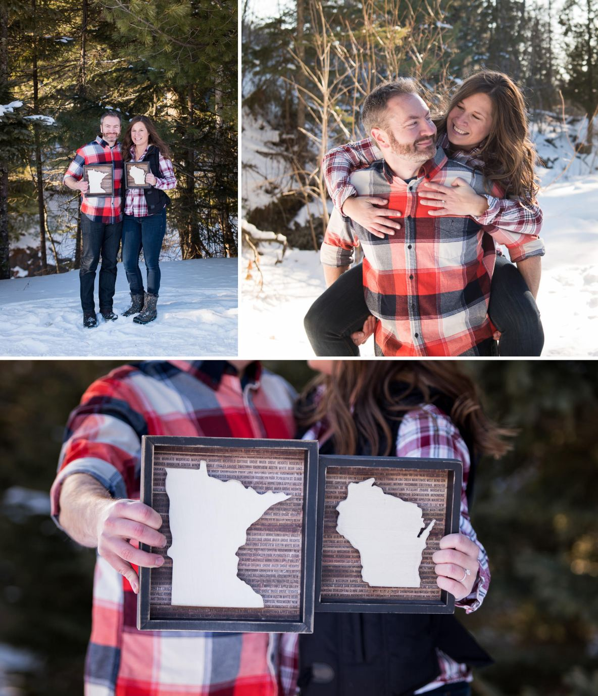 Engaged couple in snowy landscape wearing matching flannels.