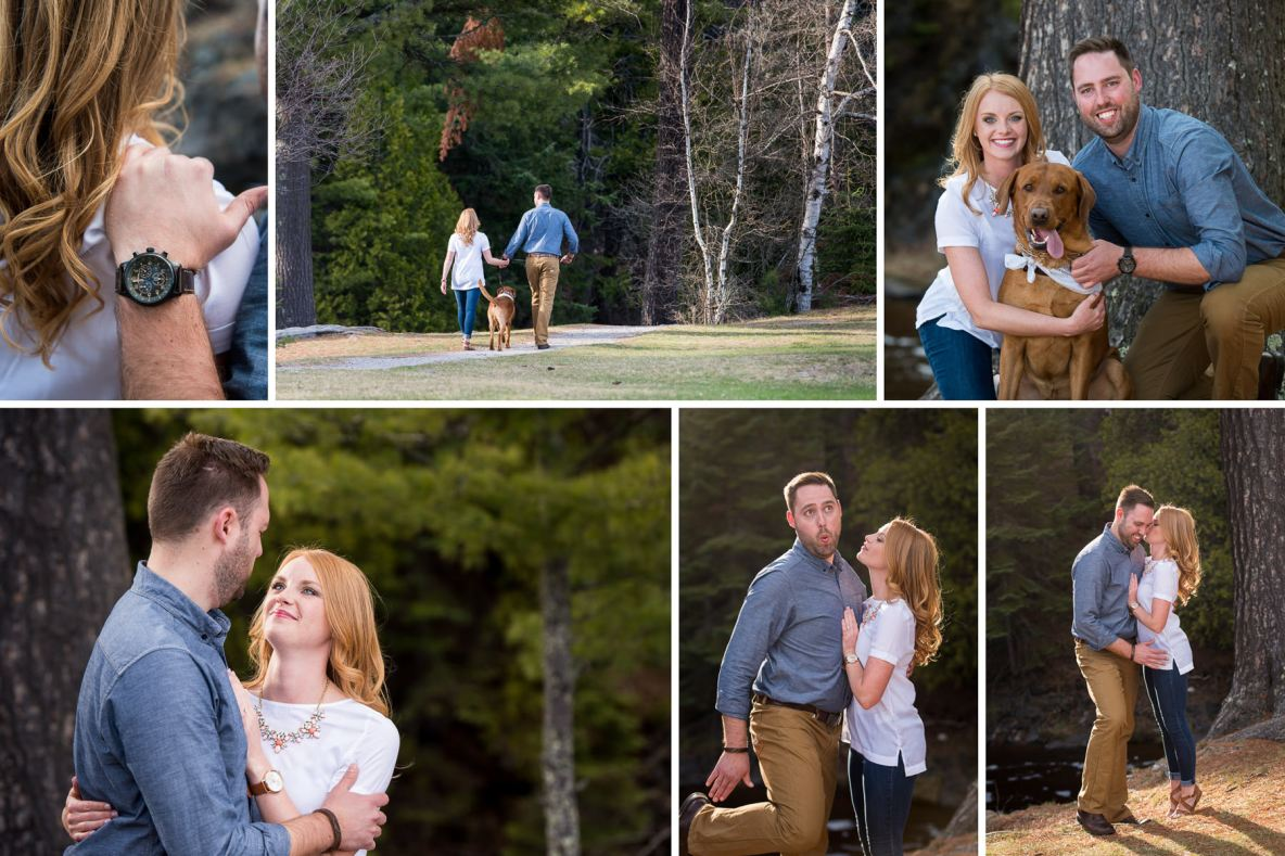 Engagement photos with dog at Lester Park in Duluth, MN.