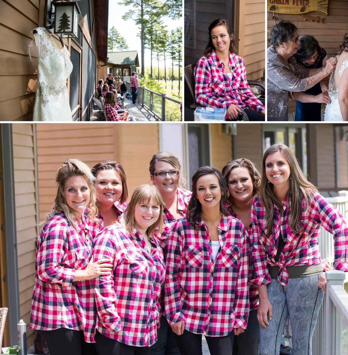 Bride and bridesmaids in matching pink flannels