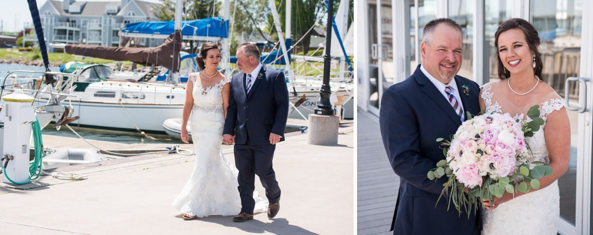 Bride and groom in front of sail boats outside.
