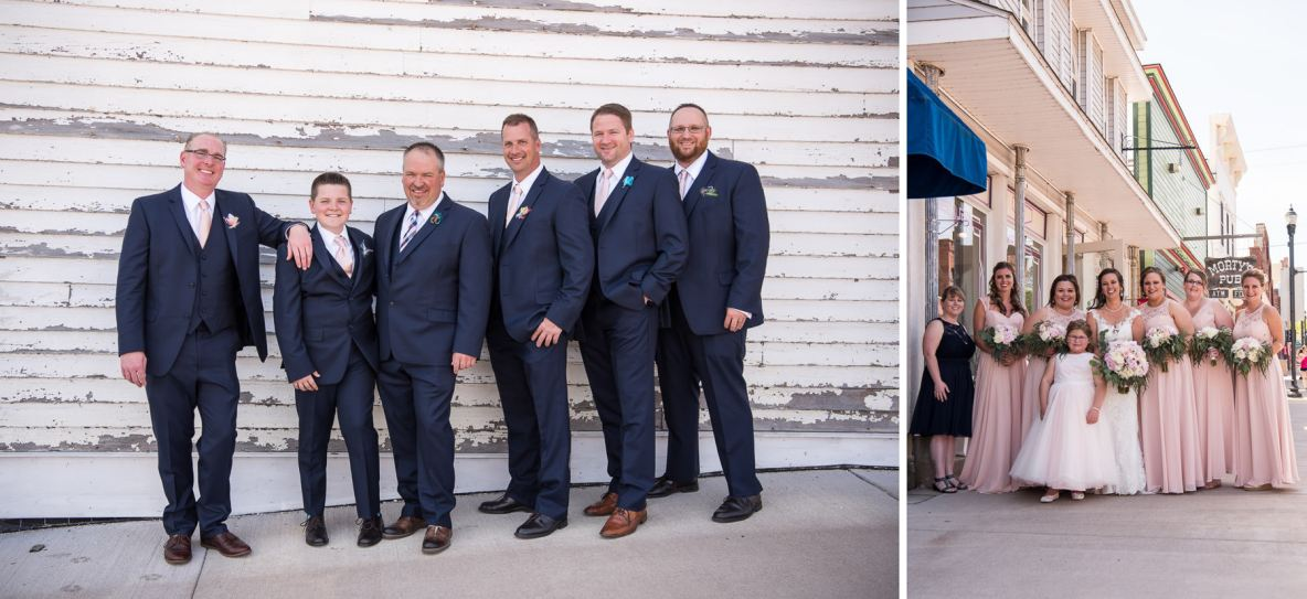 Photos of the bridesmaids and groomsmen outside.