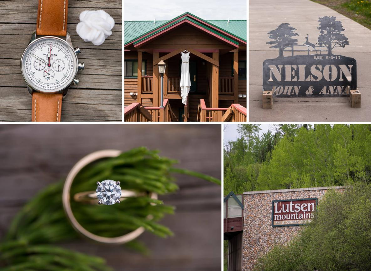 Details of wedding, including shots of the ring, watch, dress, and venue.
