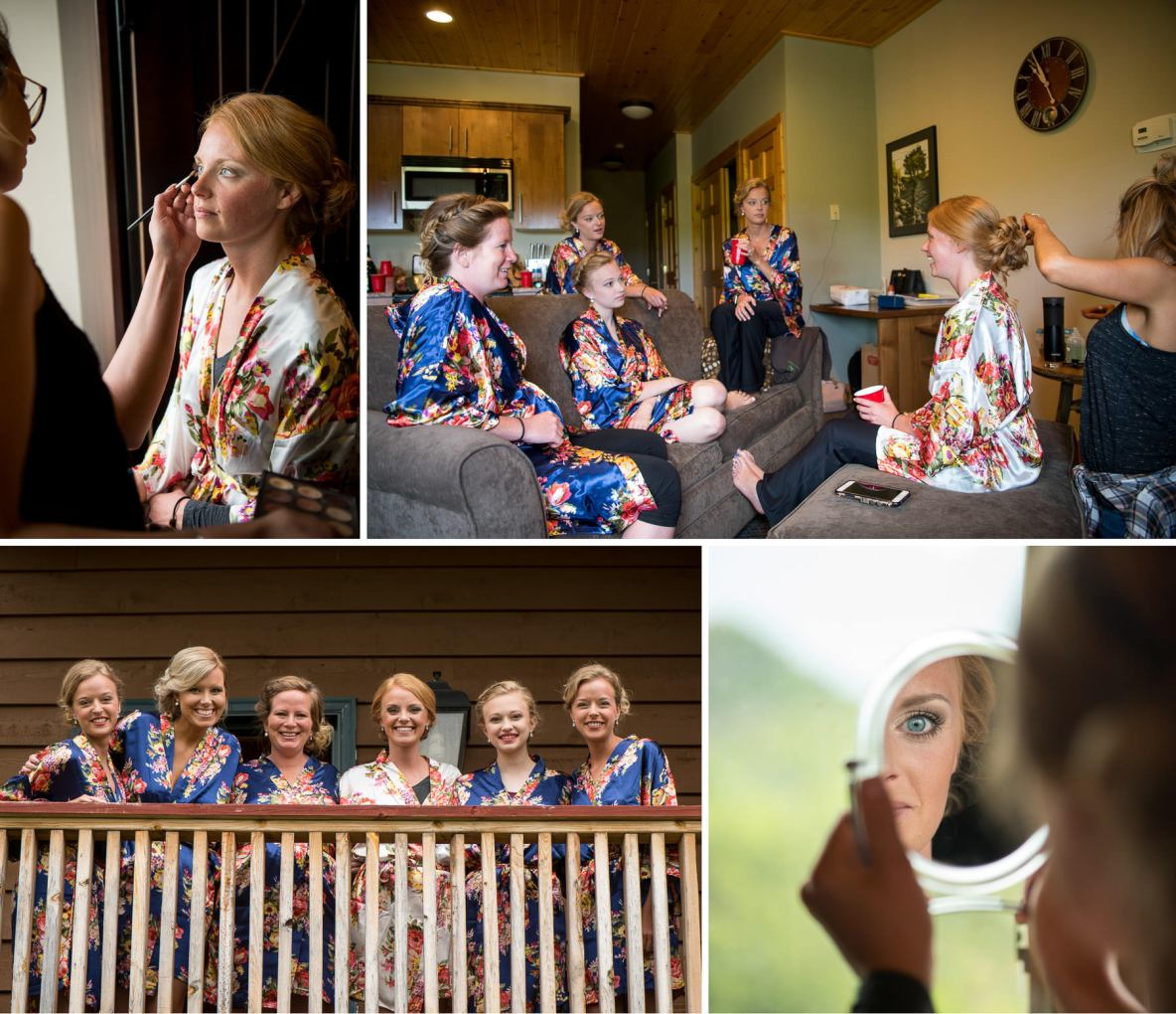 Getting ready photos of the bride and bridesmaids wearing matching robes and applying makeup.